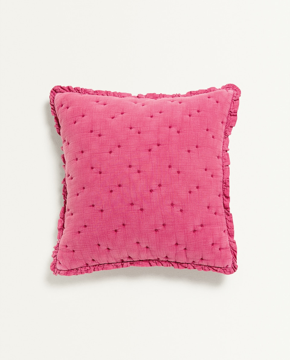 EMBROIDERED CUSHION COVER WITH RUFFLES