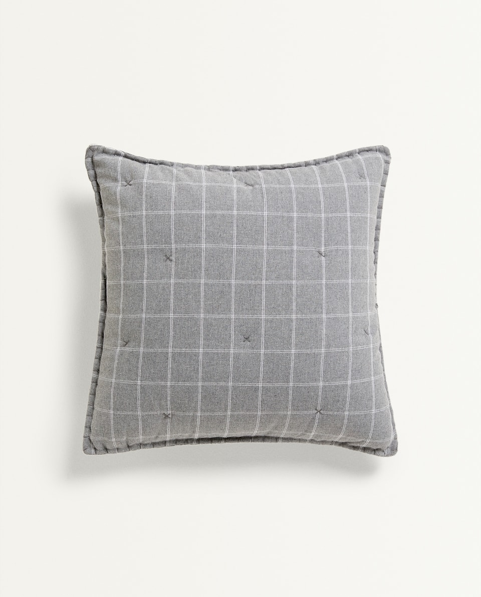 GREY CHECK CUSHION COVER