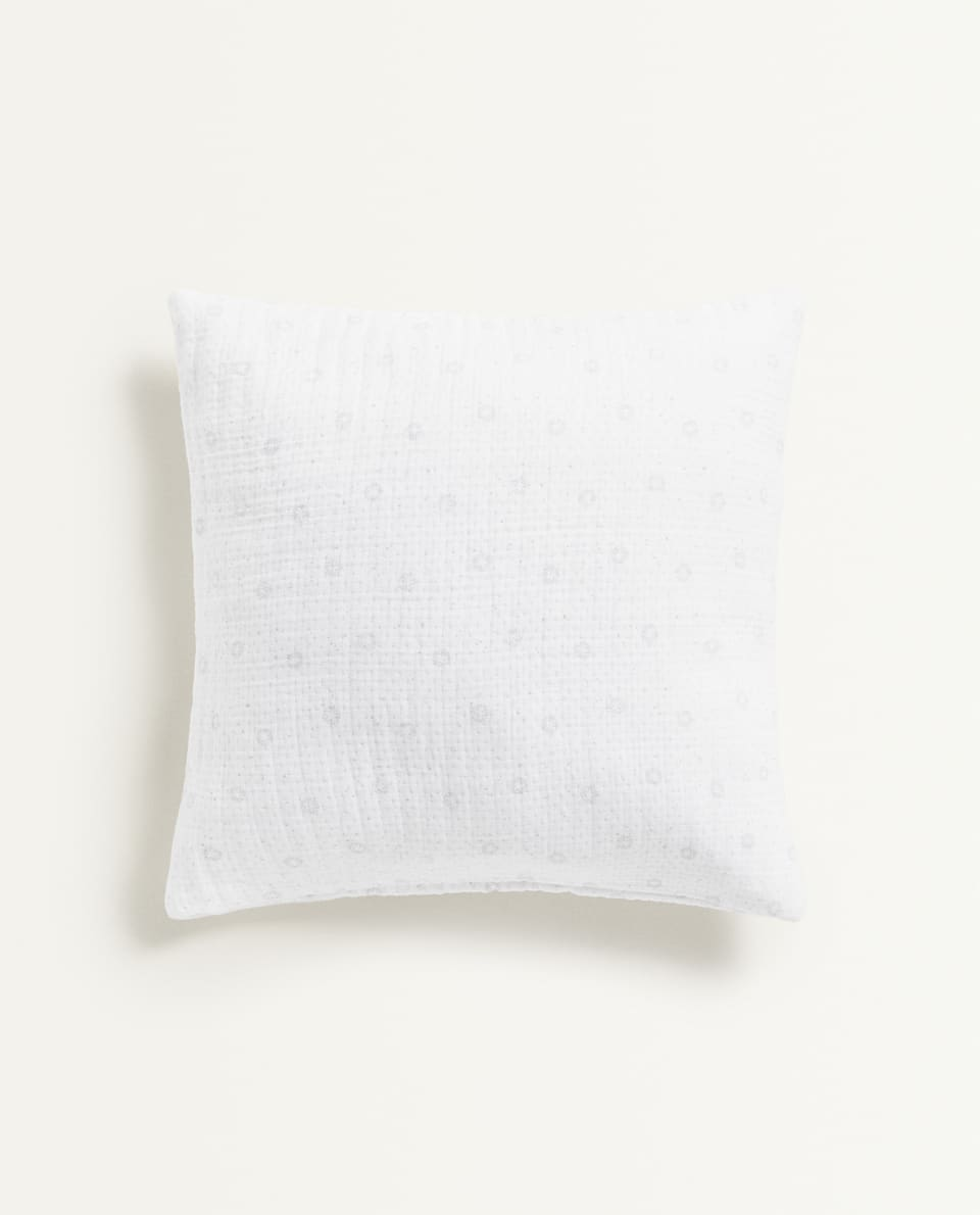 STAR PRINT MUSLIN CUSHION COVER