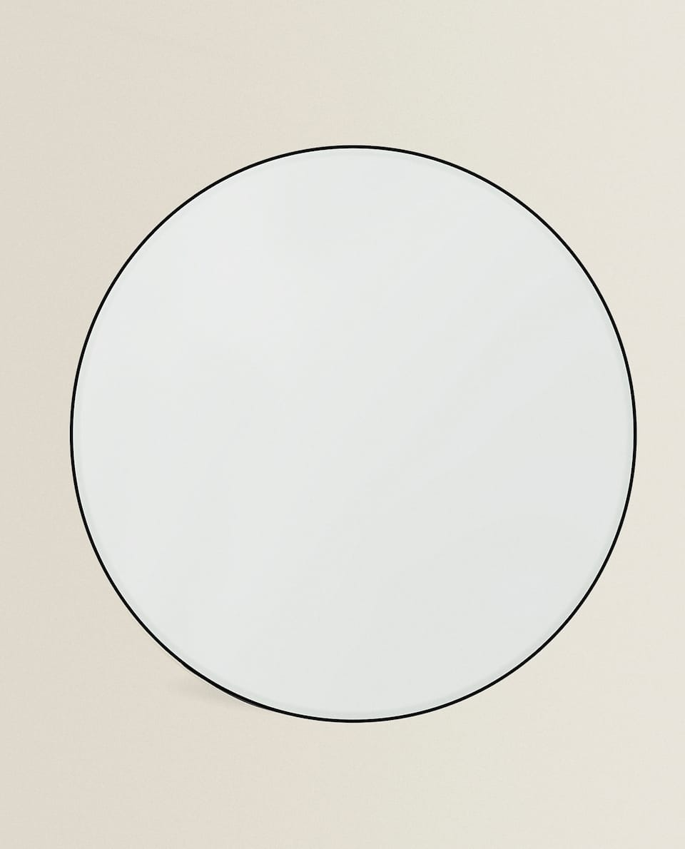 LARGE ROUND MIRROR WITH METAL FRAME