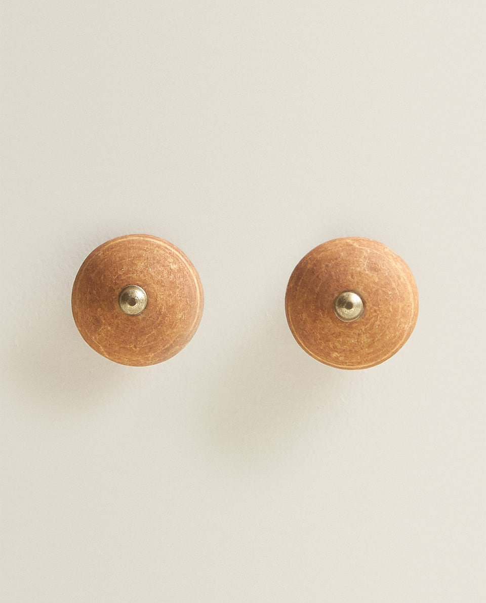 ROUND TERRACOTTA STONEWARE DOOR KNOB (PACK OF 2)