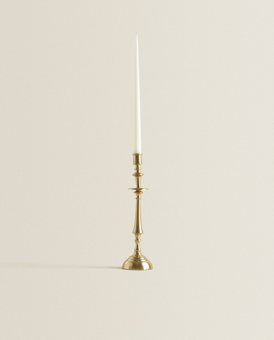 GOLD CANDLESTICK WITH COLUMN KNOPS