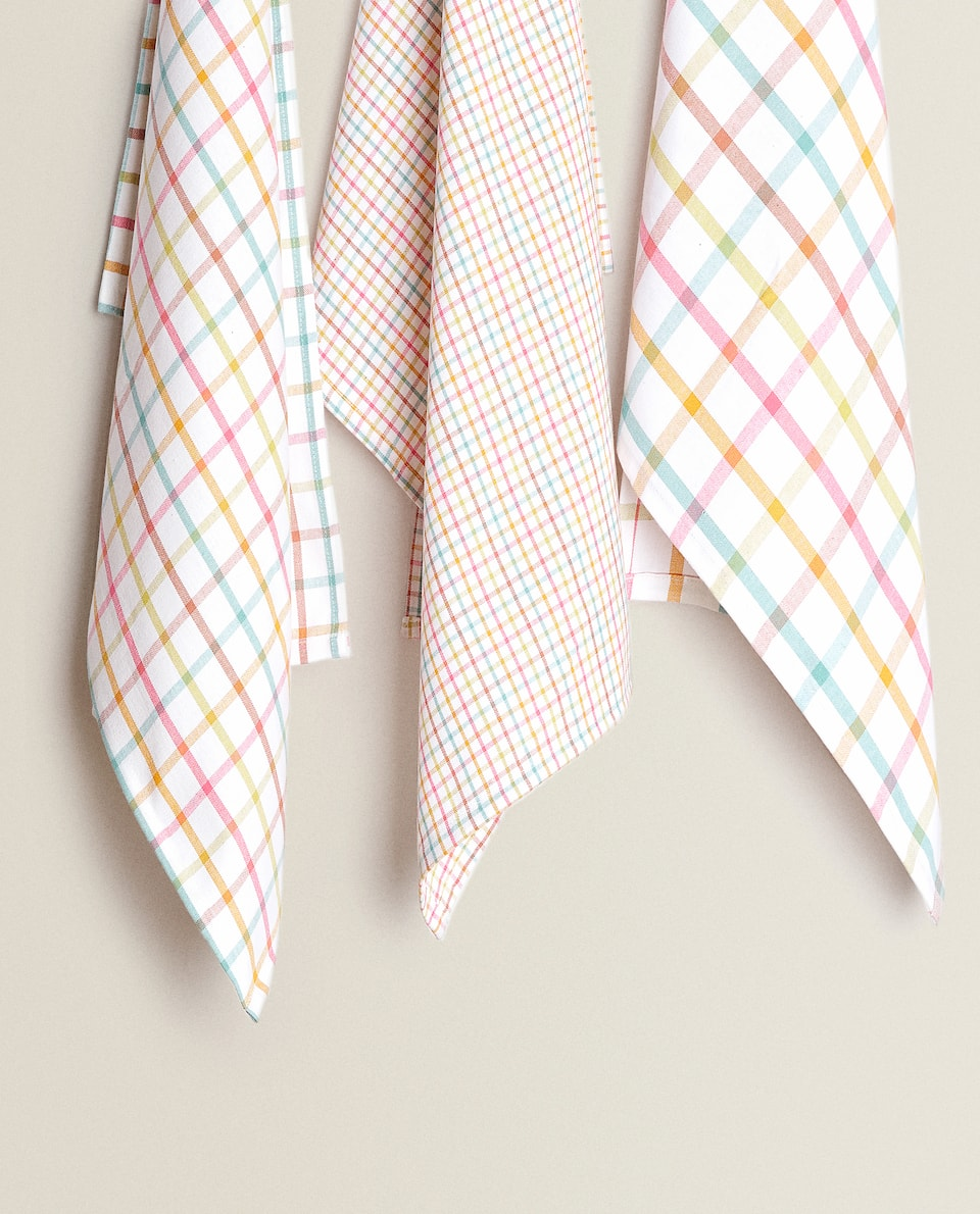 COTTON TEA TOWEL WITH MULTICOLOURED STRIPES (PACK OF 3)