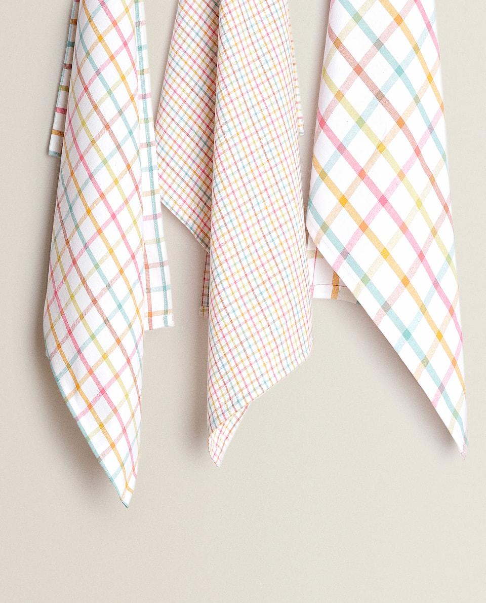 منشفة مطبخ قطنية بخطوط متعددة الألوان (حزمة من 3)