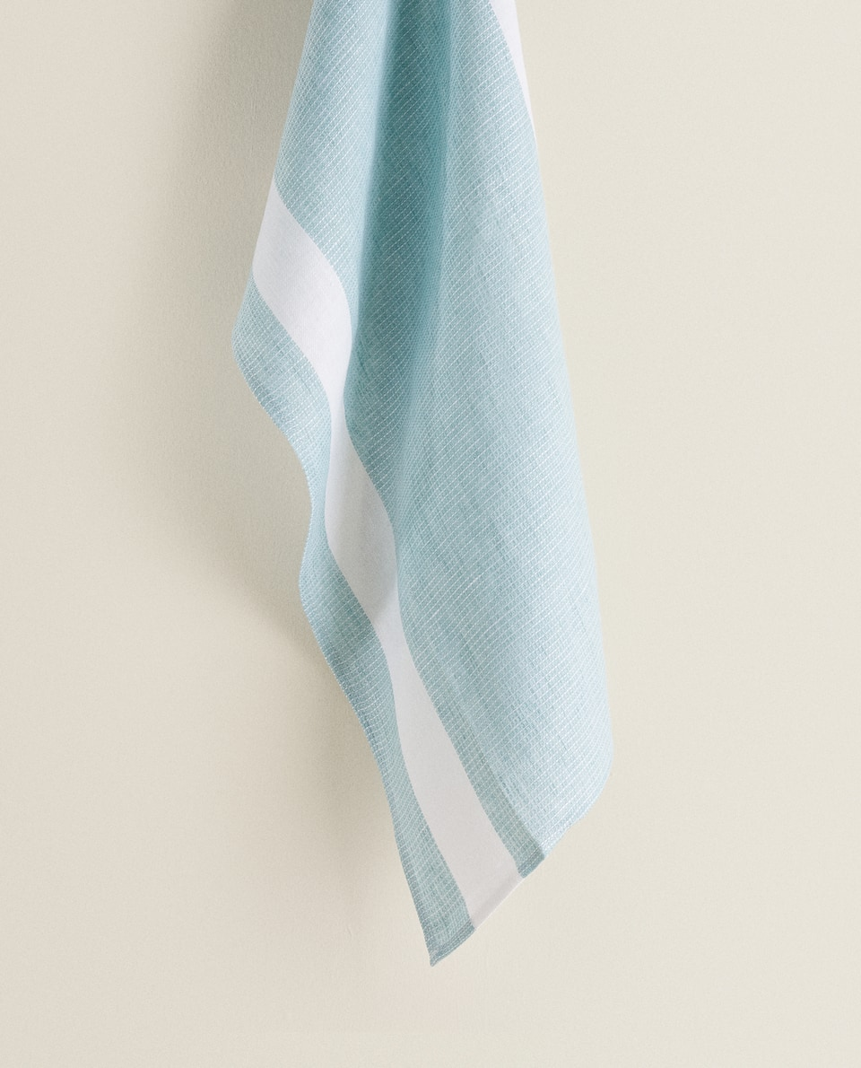 STRIPED WAFFLE-KNIT LINEN TEA TOWEL
