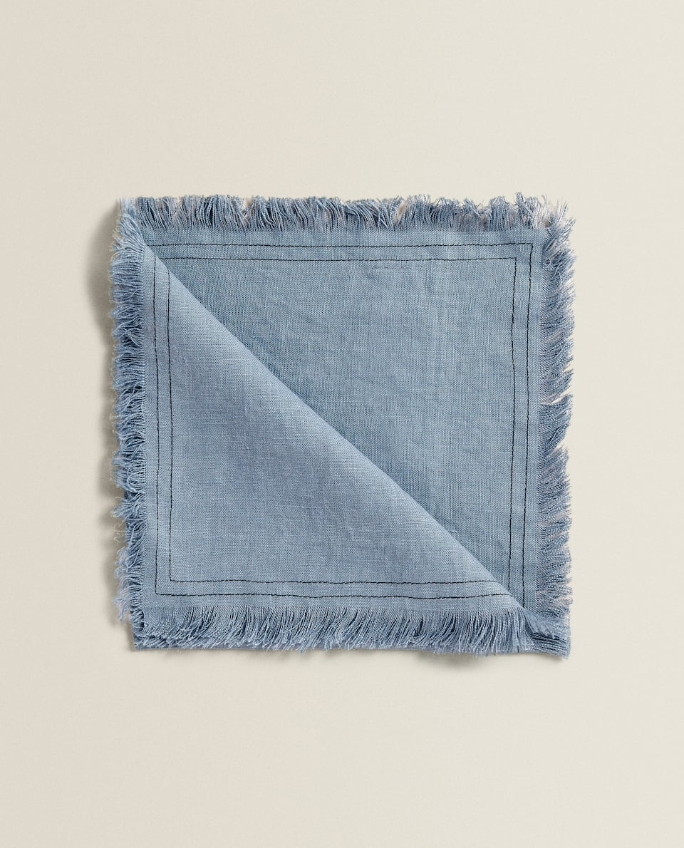 LINEN NAPKINS WITH FRINGING (PACK OF 4)