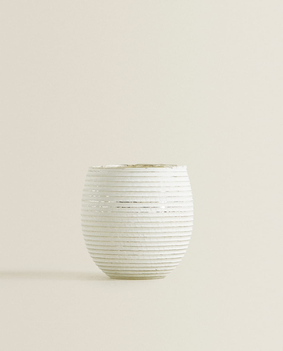 WHITE STRIPED TEALIGHT HOLDER