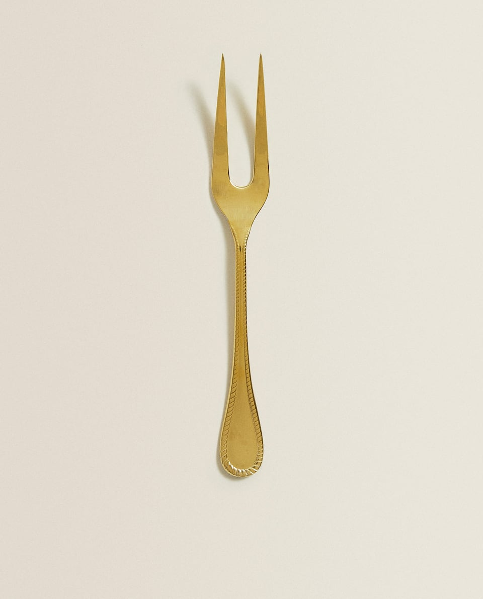GOLD-FINISH SERVING FORK
