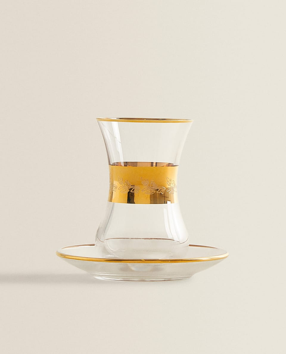 CRYSTALLINE TEA GLASS WITH GOLD LINES