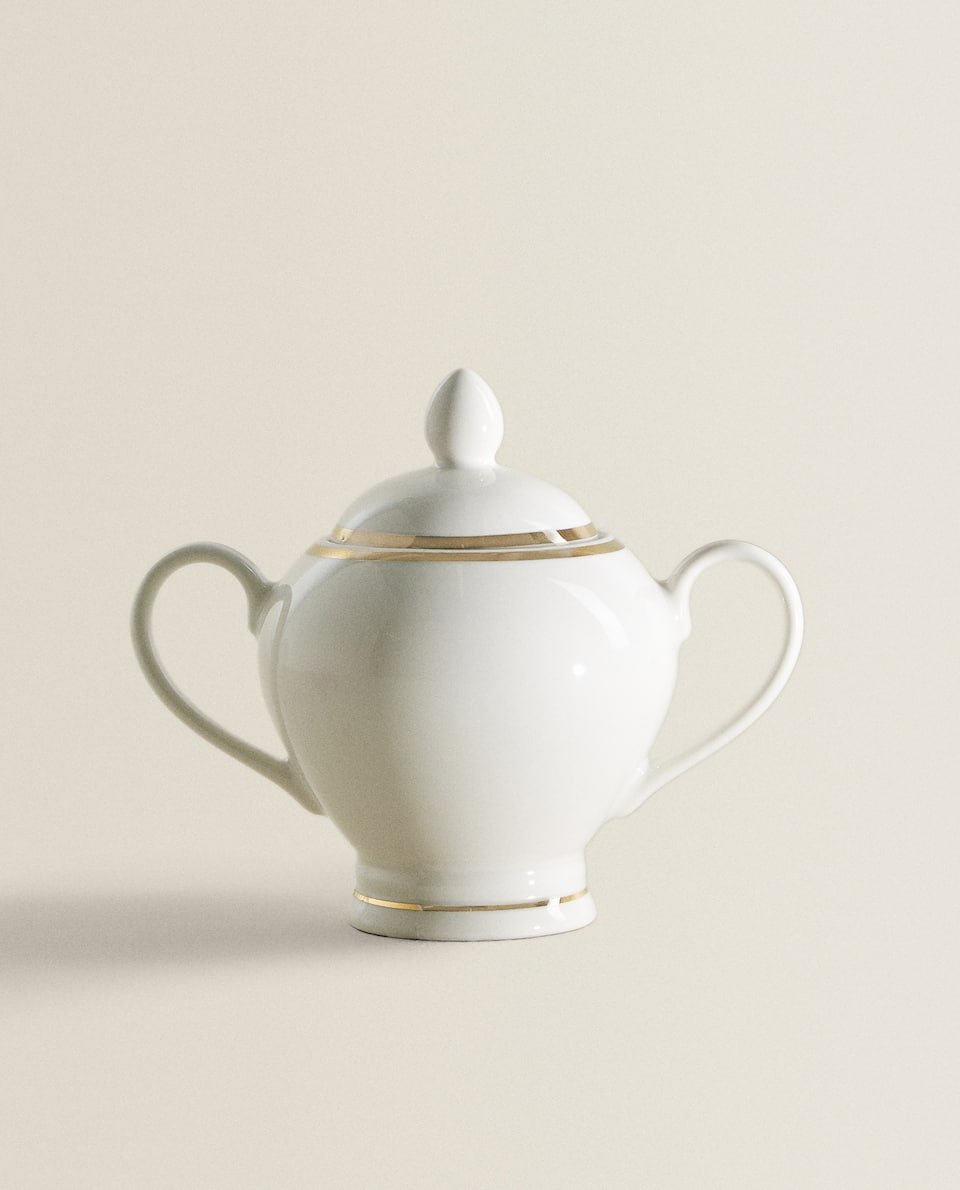 PORCELAIN SUGAR BOWL WITH DESIGN