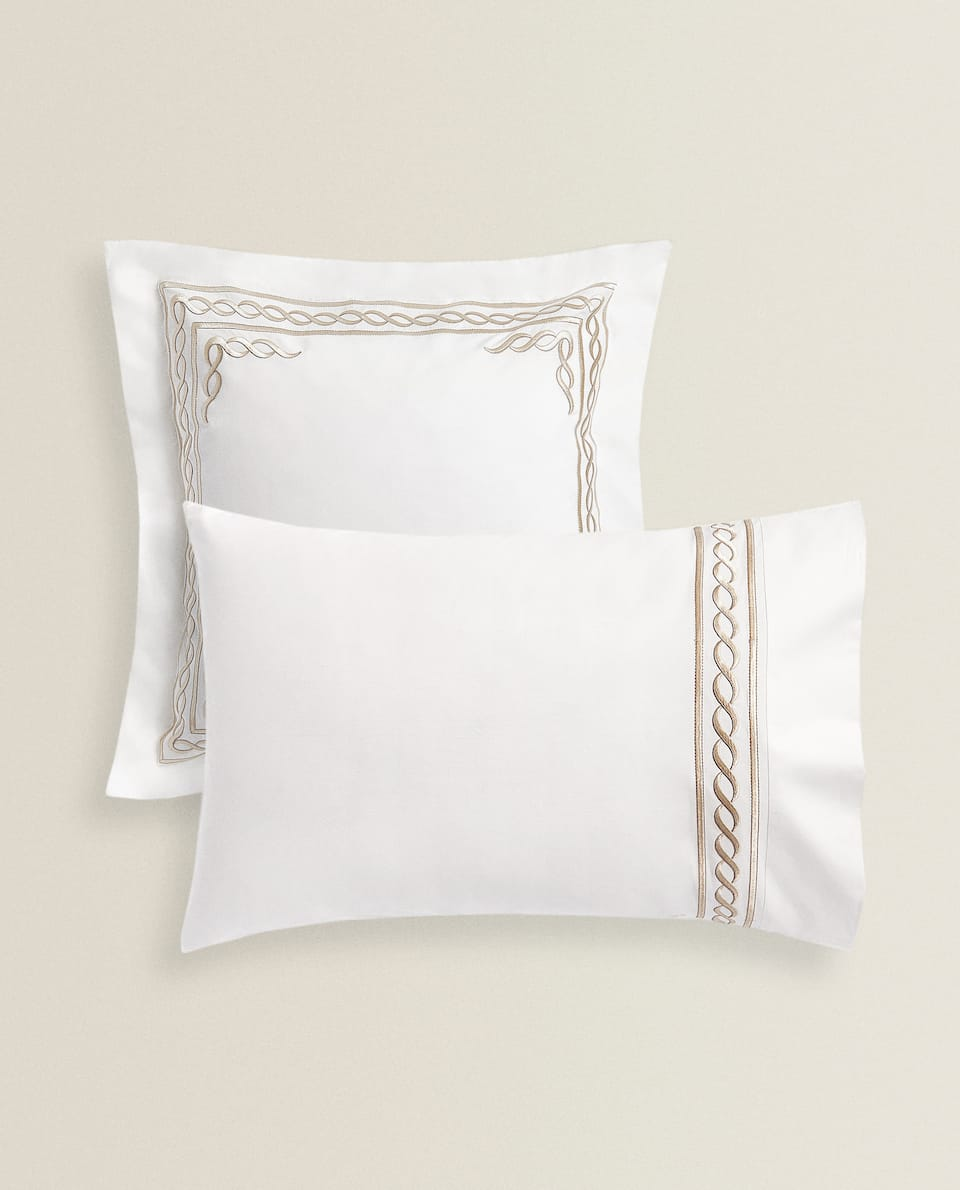 PILLOWCASE WITH EMBROIDERED INFINITY DESIGN