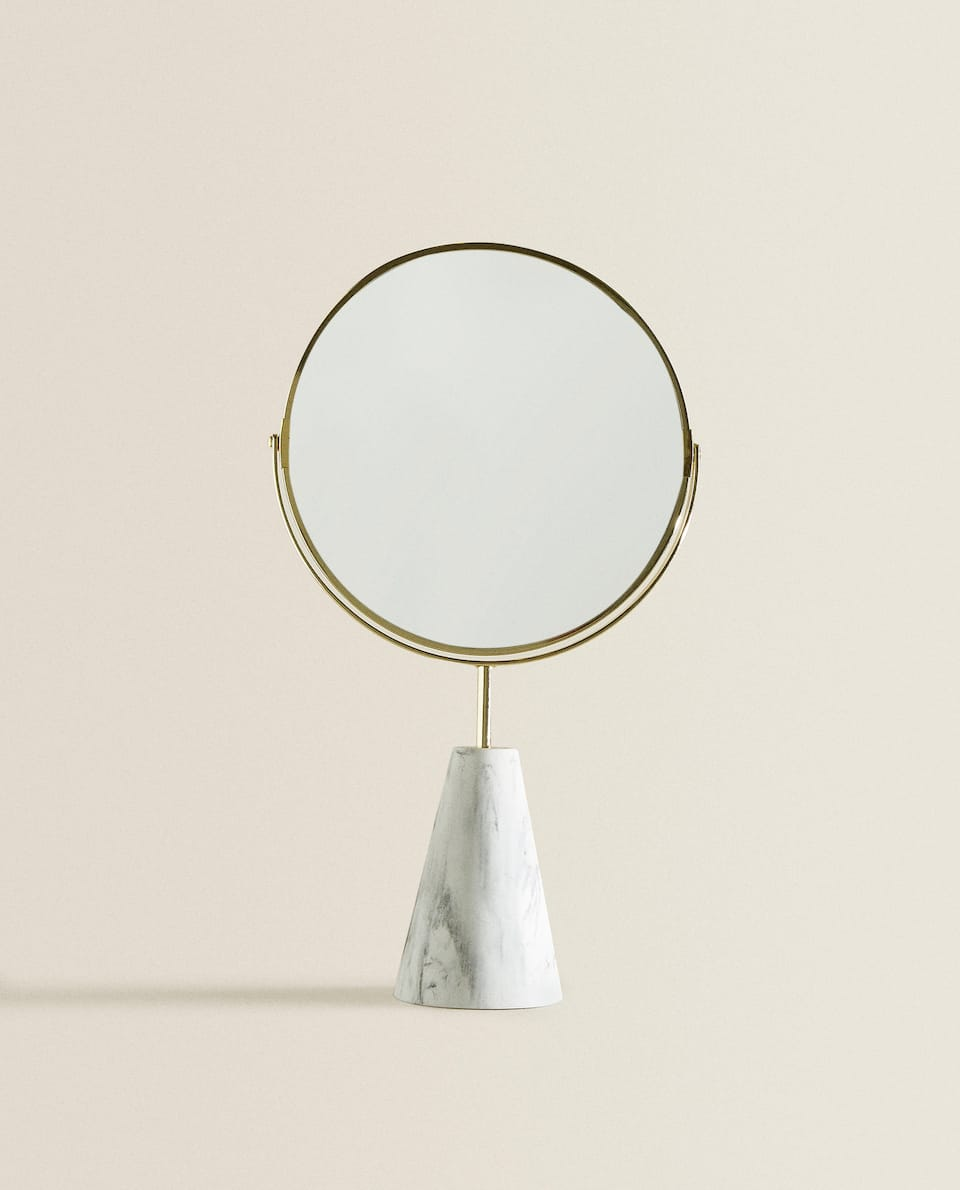 GOLD FRAME COSMETIC MIRROR WITH STAND