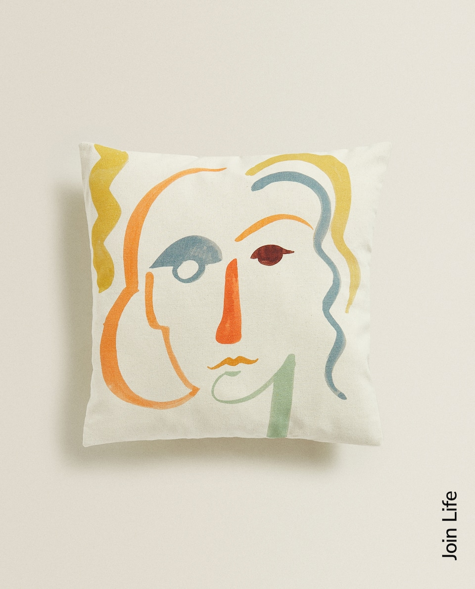 CUSHION COVER WITH FACE PRINT