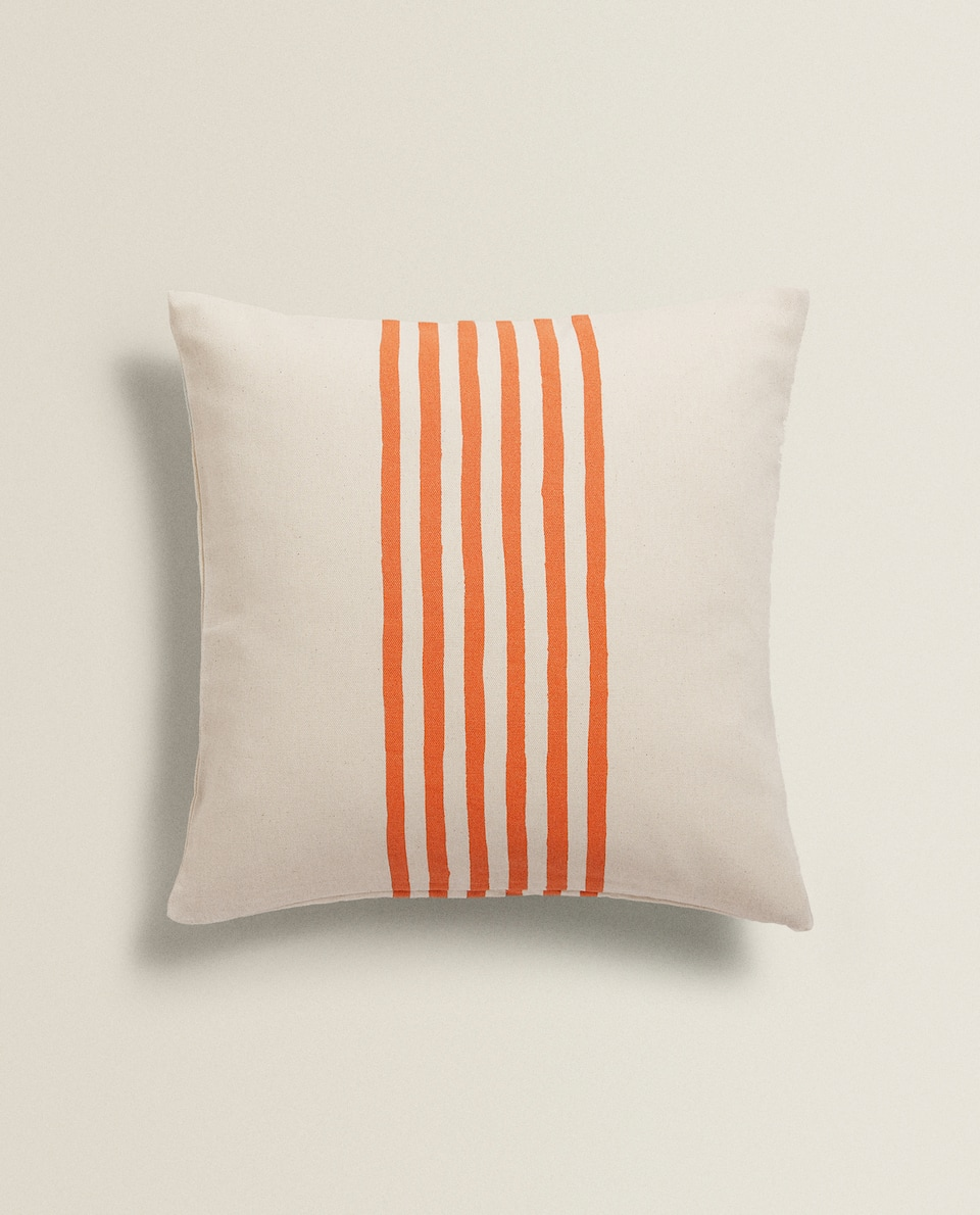 CUSHION COVER WITH CENTRAL STRIPES