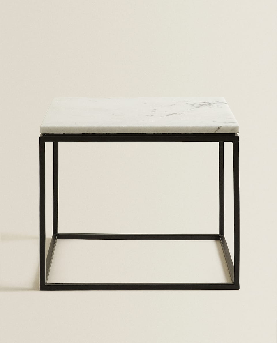 MARBLE TABLE WITH BLACK BASE