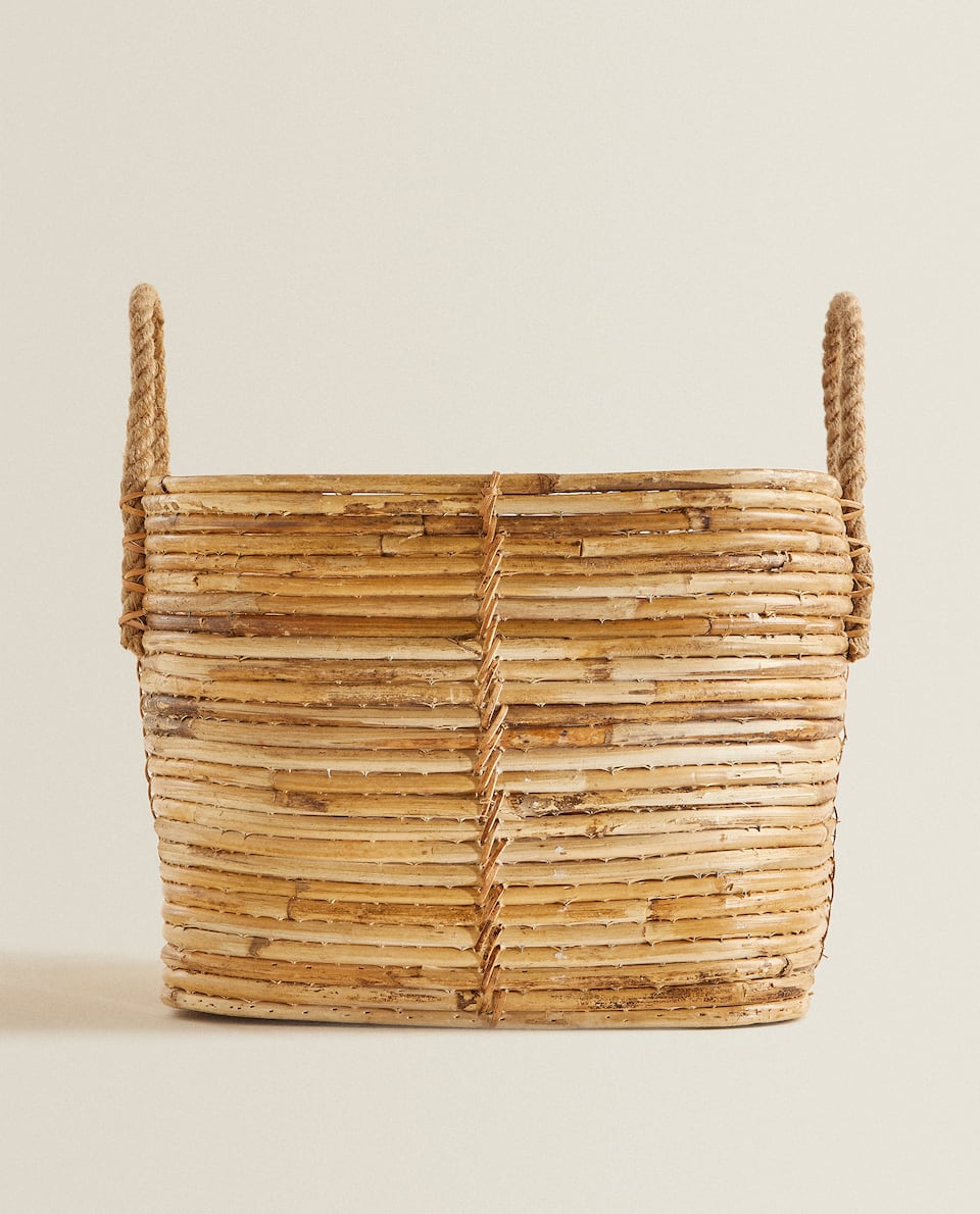 SQUARE BASE RATTAN BASKET