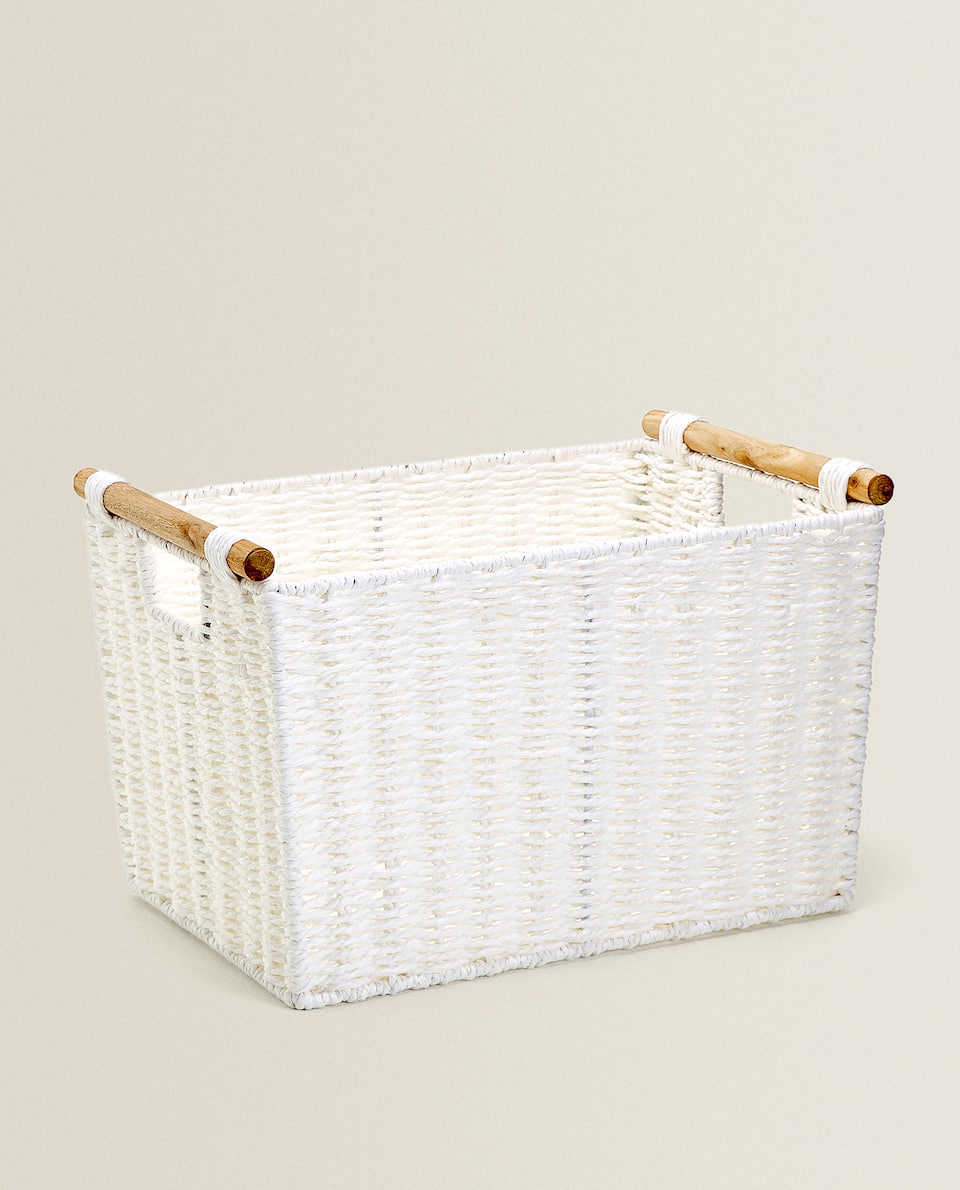 RECTANGULAR BASKET WITH WOODEN HANDLES