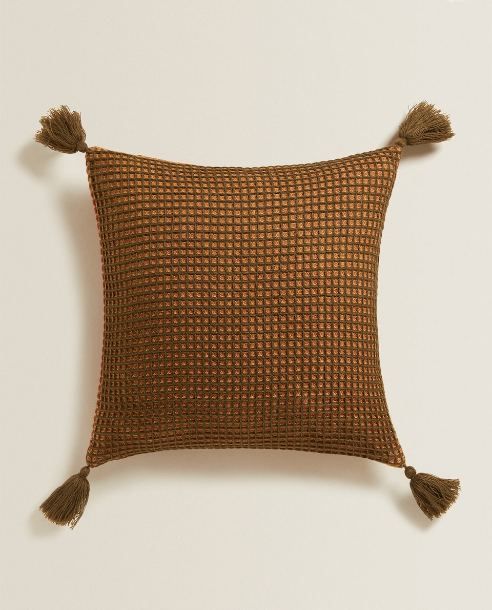 REVERSIBLE WAFFLE-EFFECT CUSHION COVER
