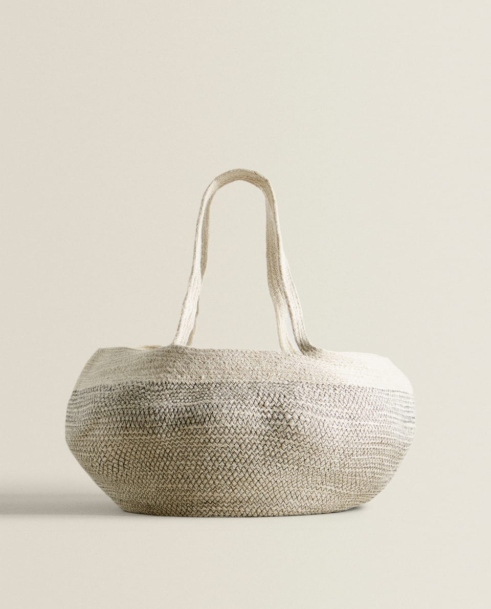 JUTE HAMPER WITH HANDLES