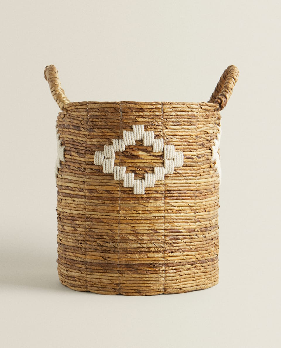 DIAMOND DESIGN BASKET WITH HANDLES