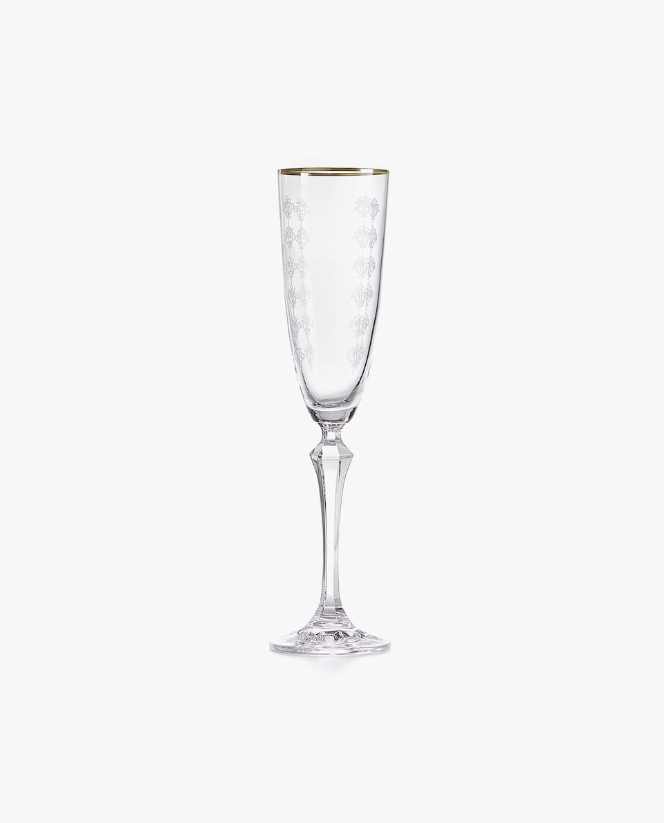 FLORAL CRYSTALLINE CHAMPAGNE FLUTE WITH SILVER RIM