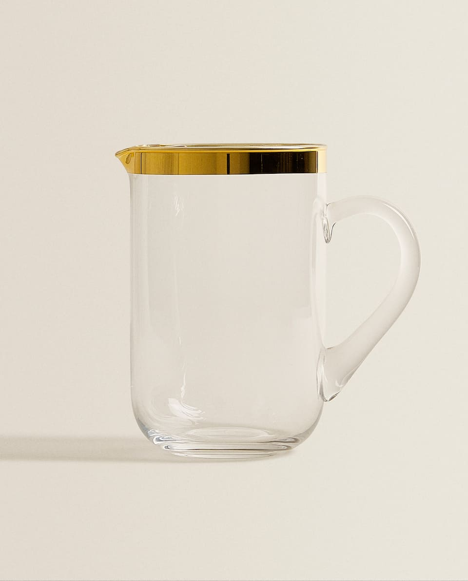 GOLD RIM GLASS JUG