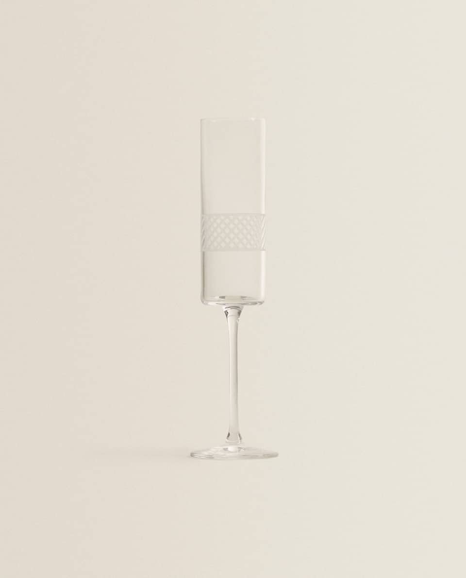CRYSTALLINE CHAMPAGNE FLUTE WITH STRIPED DESIGN
