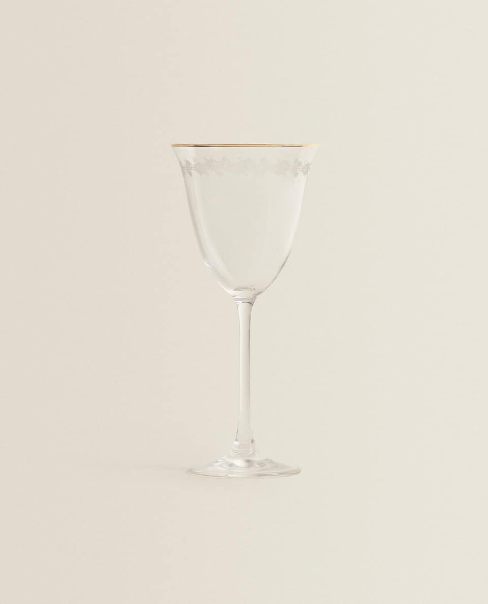 GOLD-RIMMED CRYSTALLINE CHAMPAGNE FLUTE WITH EMBOSSED CHAIN