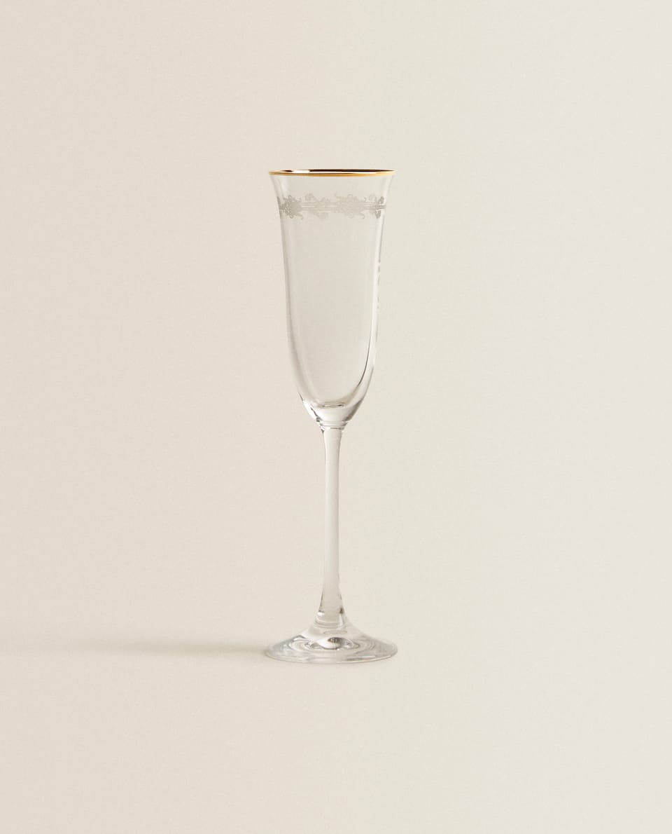 GOLD-RIMMED CHAMPAGNE FLUTE WITH EMBOSSED CHAIN