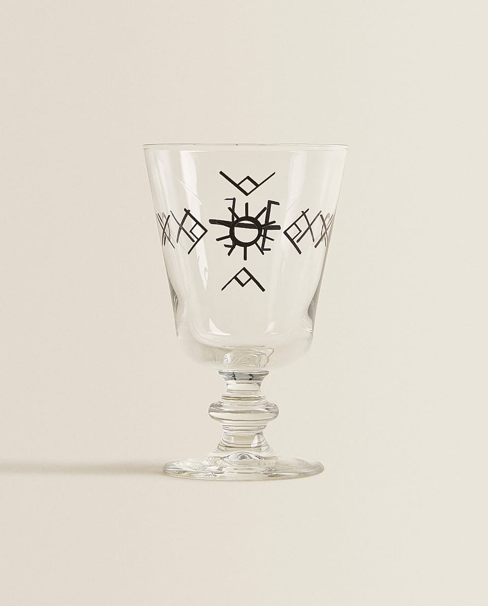 SYMBOL PRINT WINE GLASS
