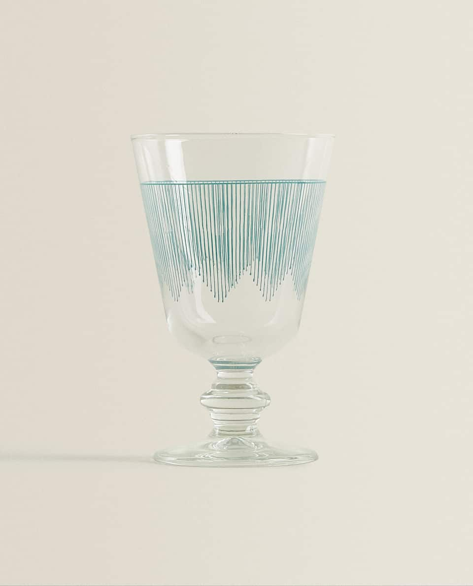 BLUE STRIPE PRINT WINE GLASS