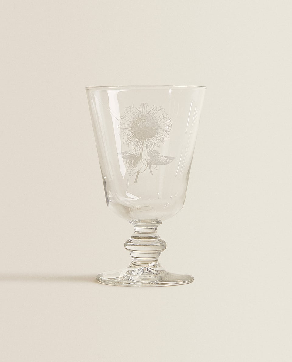 FLORAL PRINT WINE GLASS