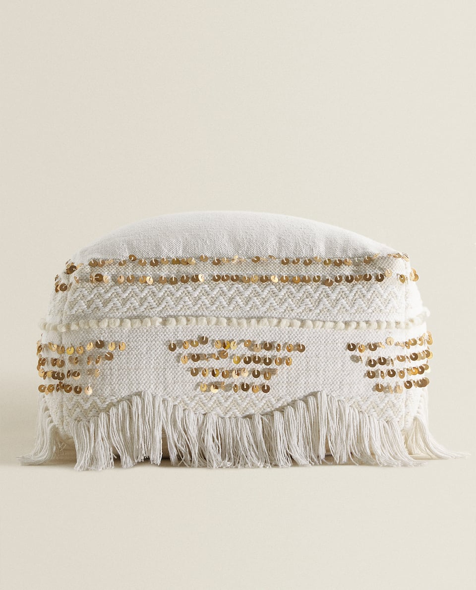 FRINGE AND SEQUIN POUFFE