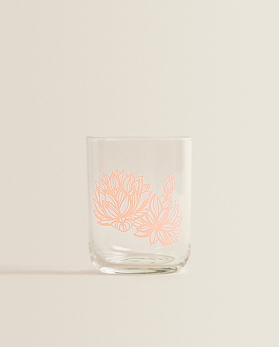 TUMBLER WITH LOTUS FLOWER TRANSFER