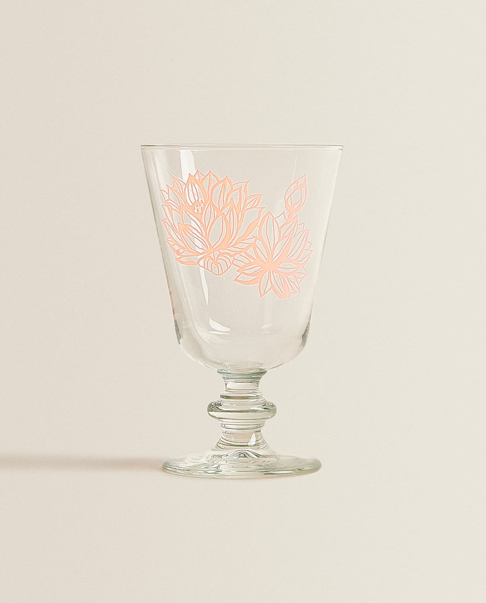 GLASS WITH LOTUS FLOWER TRANSFER