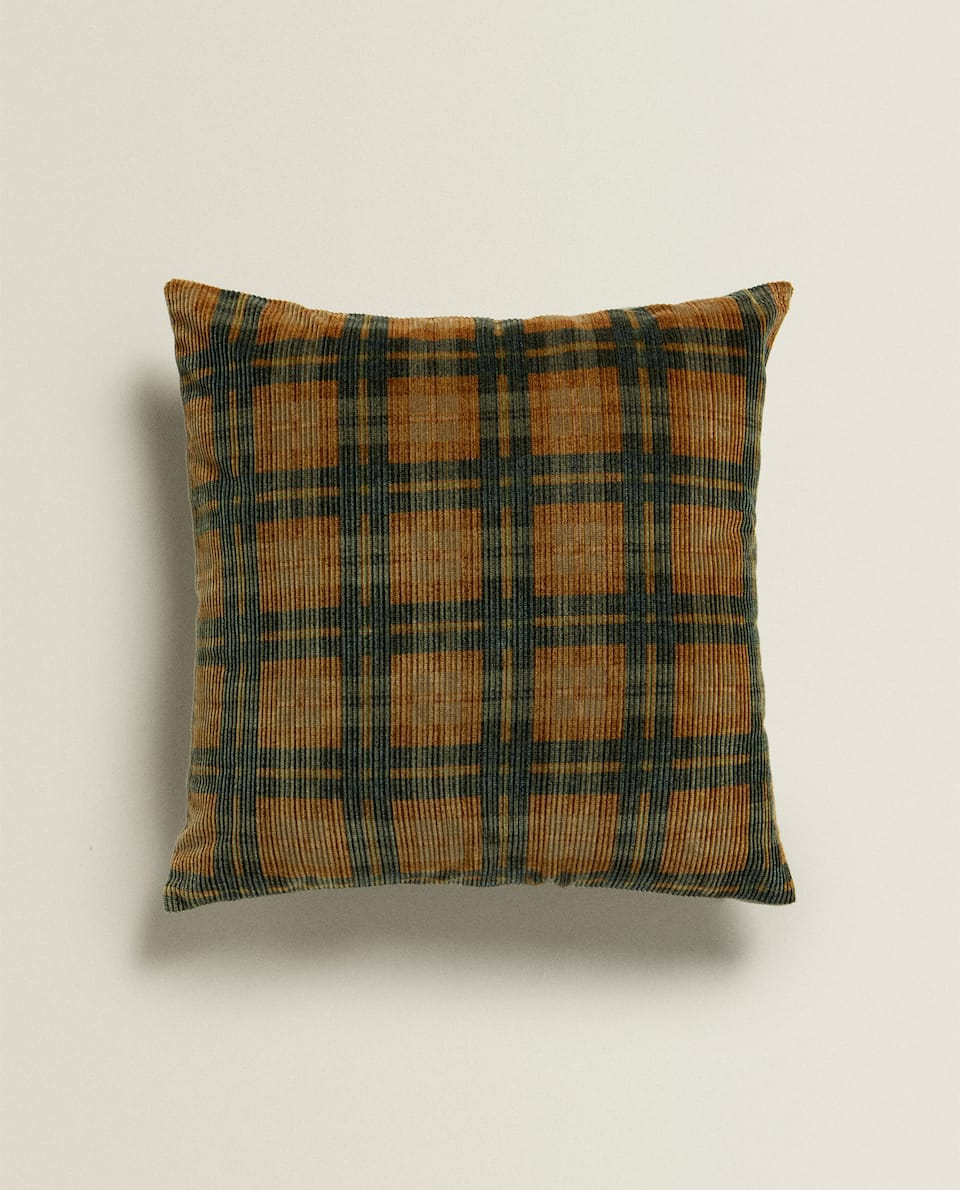 CHECK CORDUROY CUSHION COVER