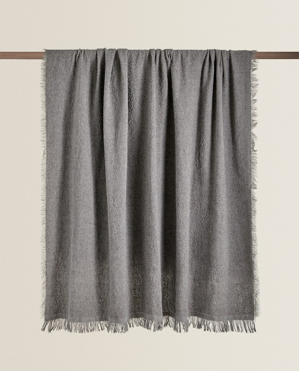 FRINGED TEXTURED BLANKET