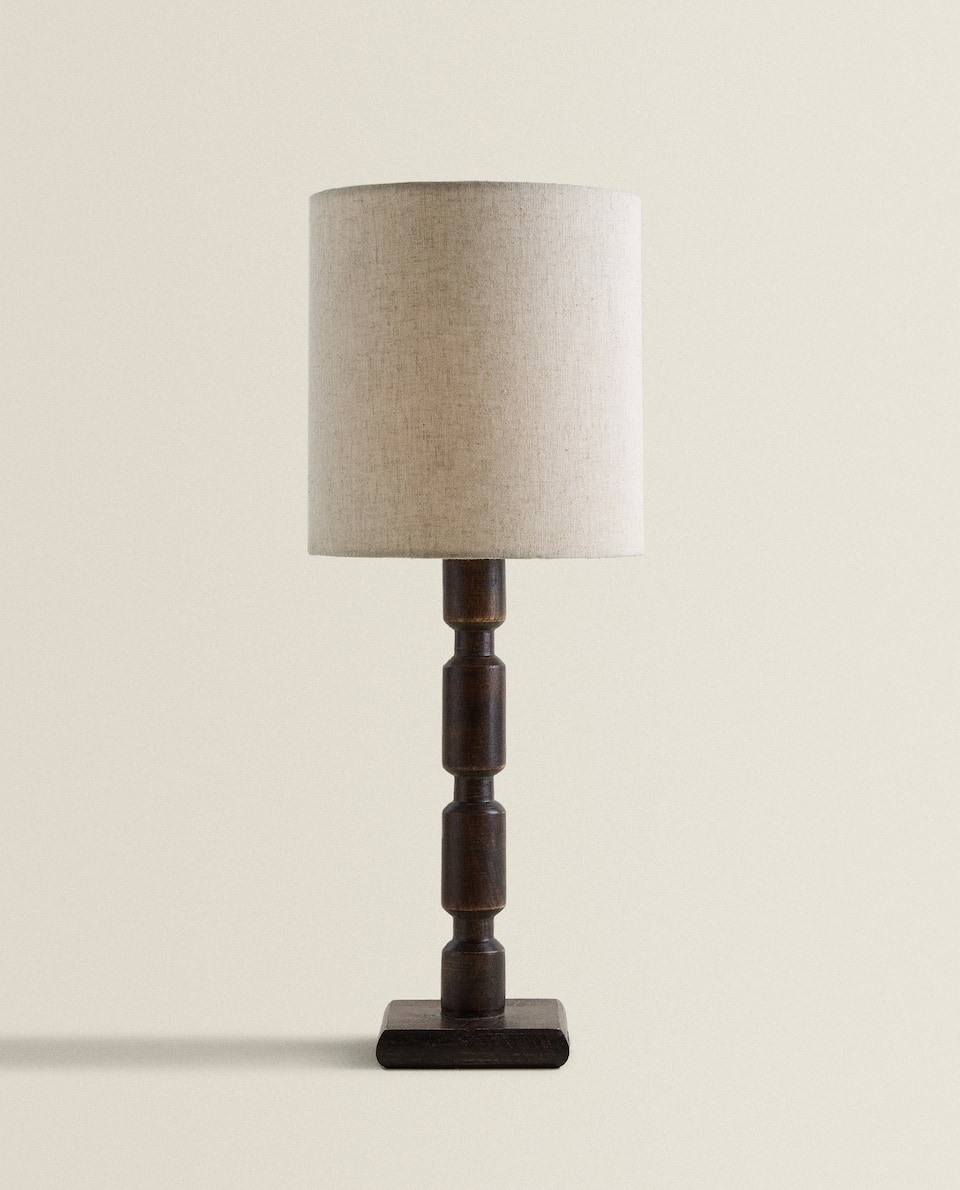 LAMP WITH WOODEN BASE
