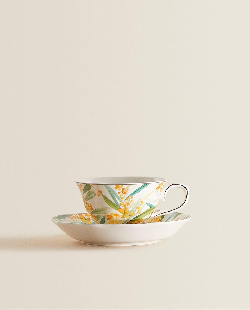 MIMOSA PRINT PORCELAIN TEACUP AND SAUCER