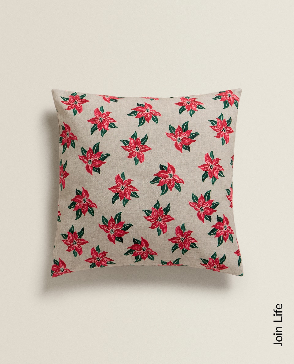 POINSETTIA PRINT CUSHION COVER