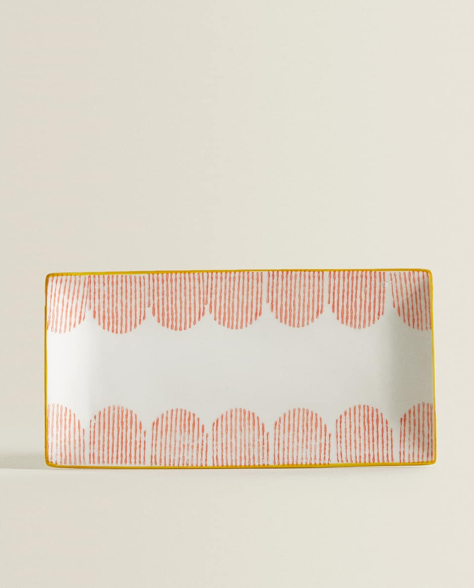 STRIPED RECTANGULAR PORCELAIN SERVING DISH