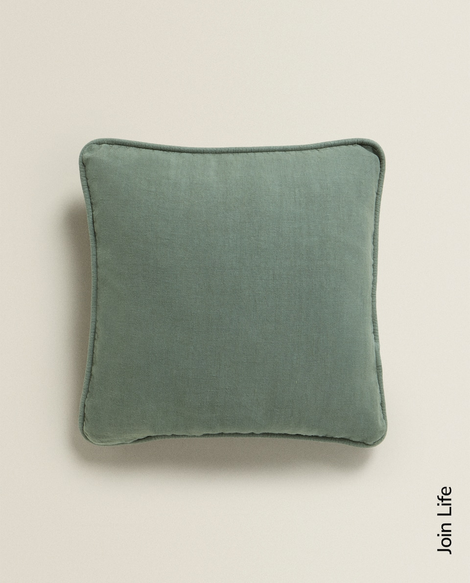 LINEN CUSHION COVER WITH PIPING