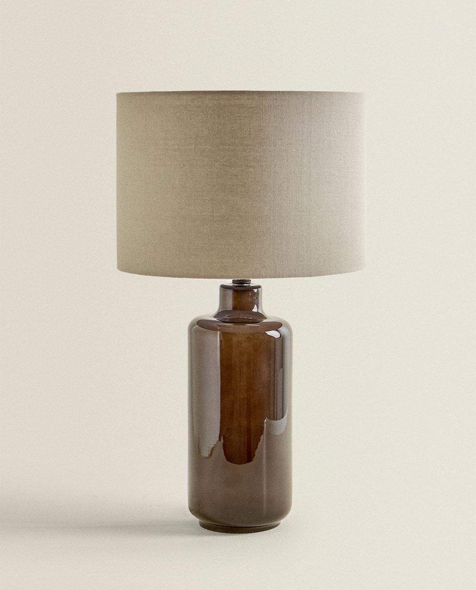 GLASS LAMP WITH PLAIN LAMPSHADE