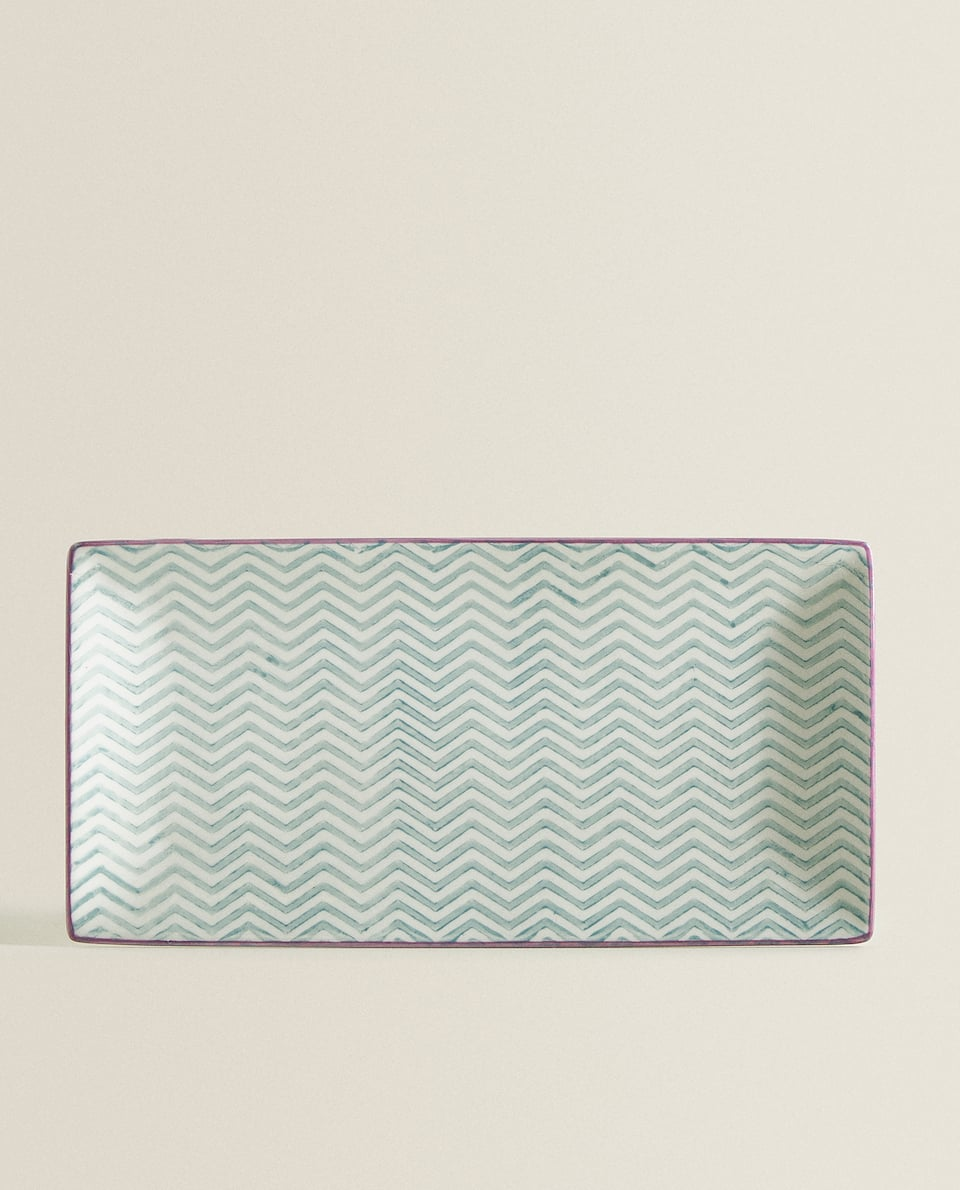 ZIGZAG RECTANGULAR PORCELAIN SERVING DISH