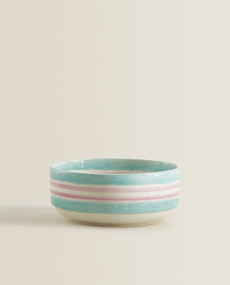 MULTICOLOURED STRIPED EARTHENWARE BOWL