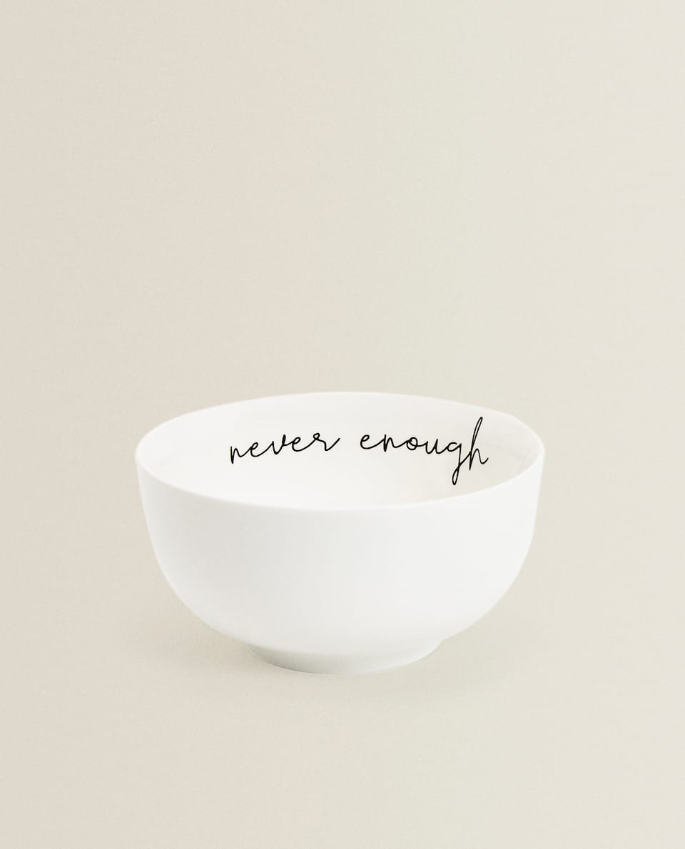 BONE CHINA PORCELAIN BOWL WITH SLOGAN