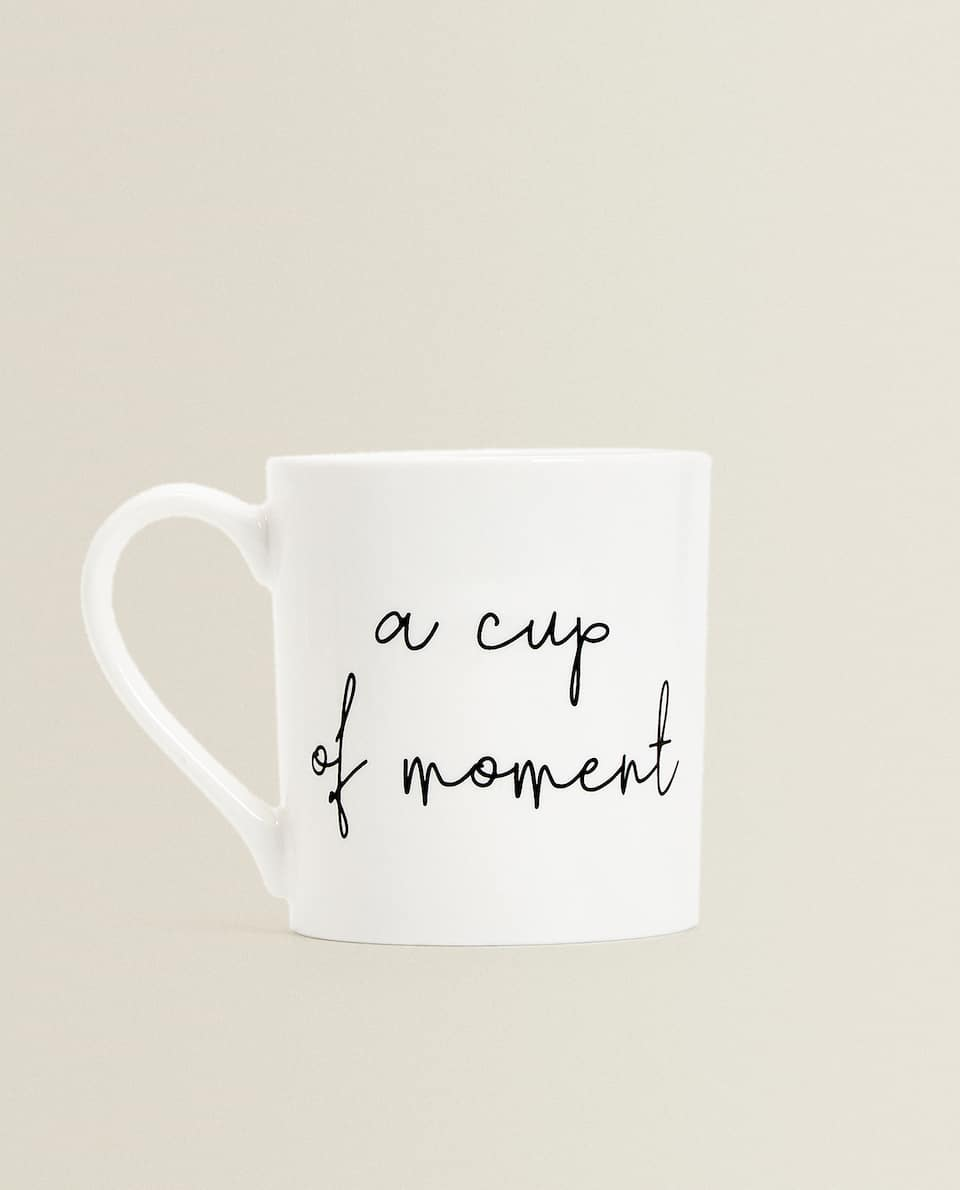 BONE CHINA PORCELAIN MUG WITH SLOGAN