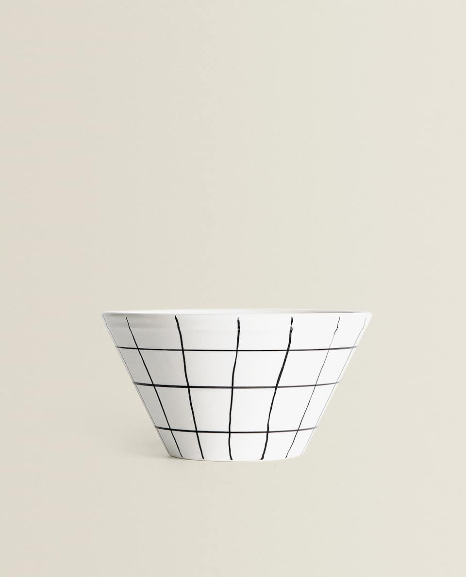 GRID PRINT EARTHENWARE BOWL