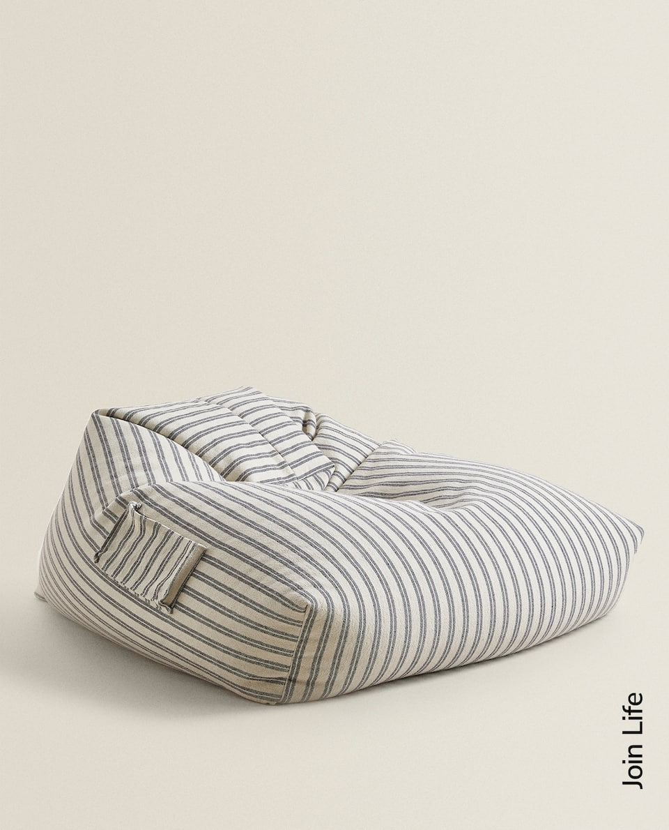 STRIPED COTTON POUFFE
