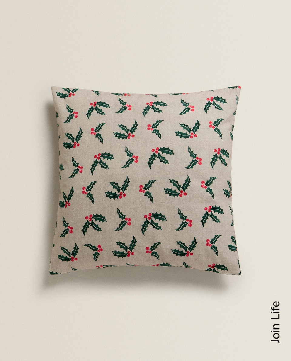 HOLLY PRINT CUSHION COVER